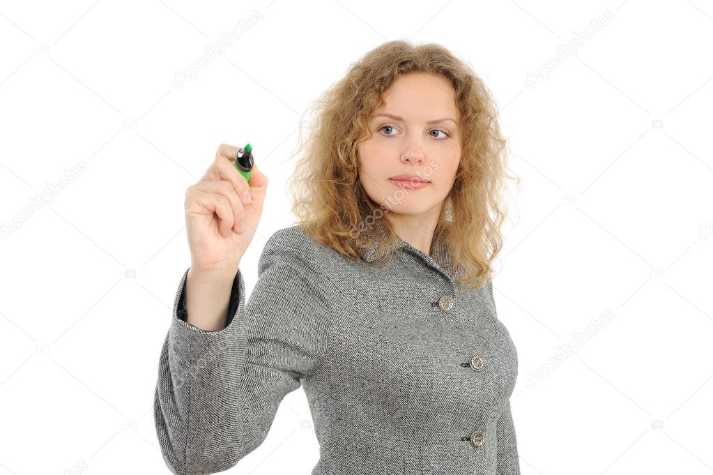 Business woman drawing something on screen with a pen - isolated over a white background — Stock Photo #1804211