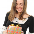 The happy woman with the gift, — Stock Photo