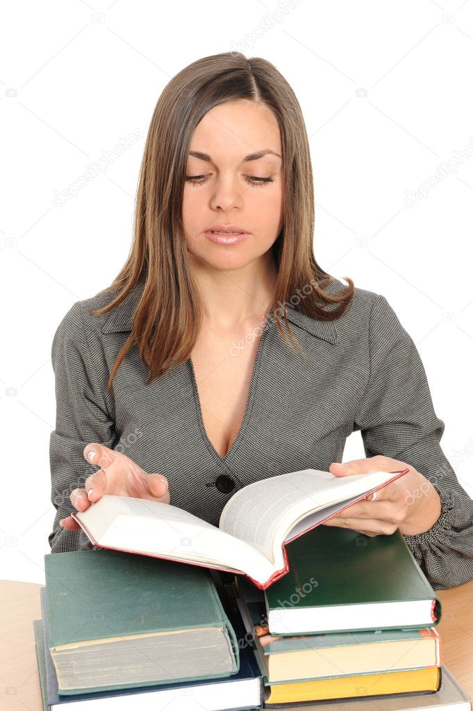 The young girl with long hair and the book — Stock Photo #2078656