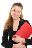 Young woman in business attire holding — Stock Photo