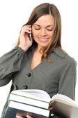 The young woman with the book and phone — Stock Photo