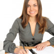 Portrait of business woman with a folder — Stock Photo