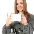 Young woman with white card — Stock Photo