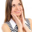 Stock Photo: Positive young woman smiling