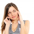 Beautiful woman speaks by phone — Stock Photo #2680012