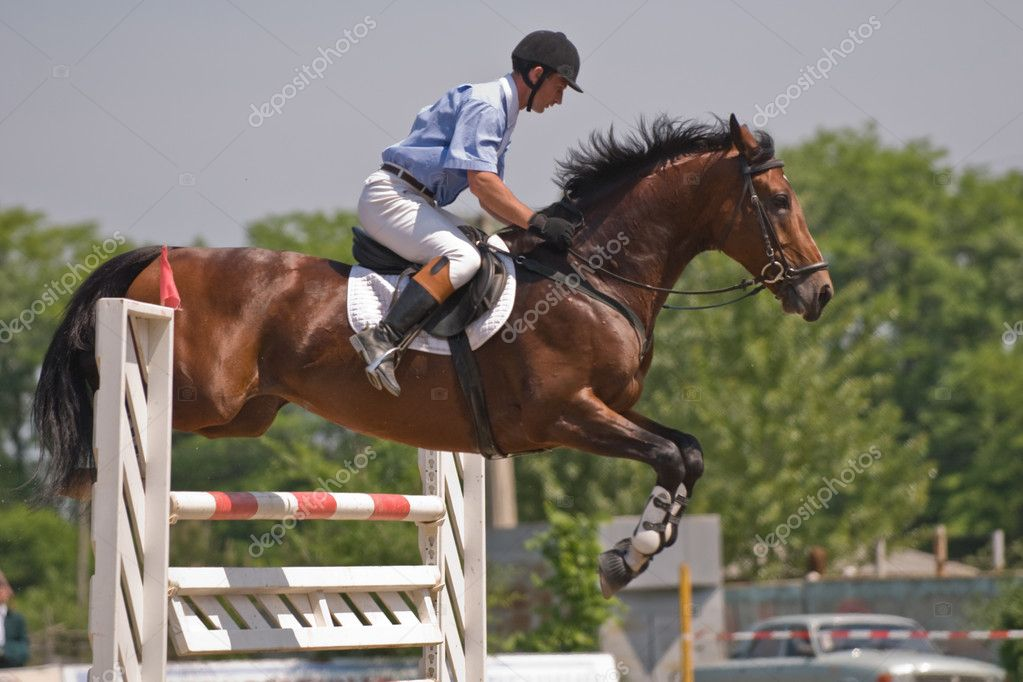 Brown stallion and rider jumping on the horse jumping show — Stock Photo #1683780