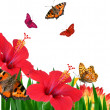 Butterflies on flowers — Stock Photo #1716095