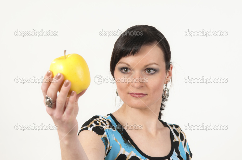 Portrait of sexy woman with yellow apple — Stock Photo #1994602