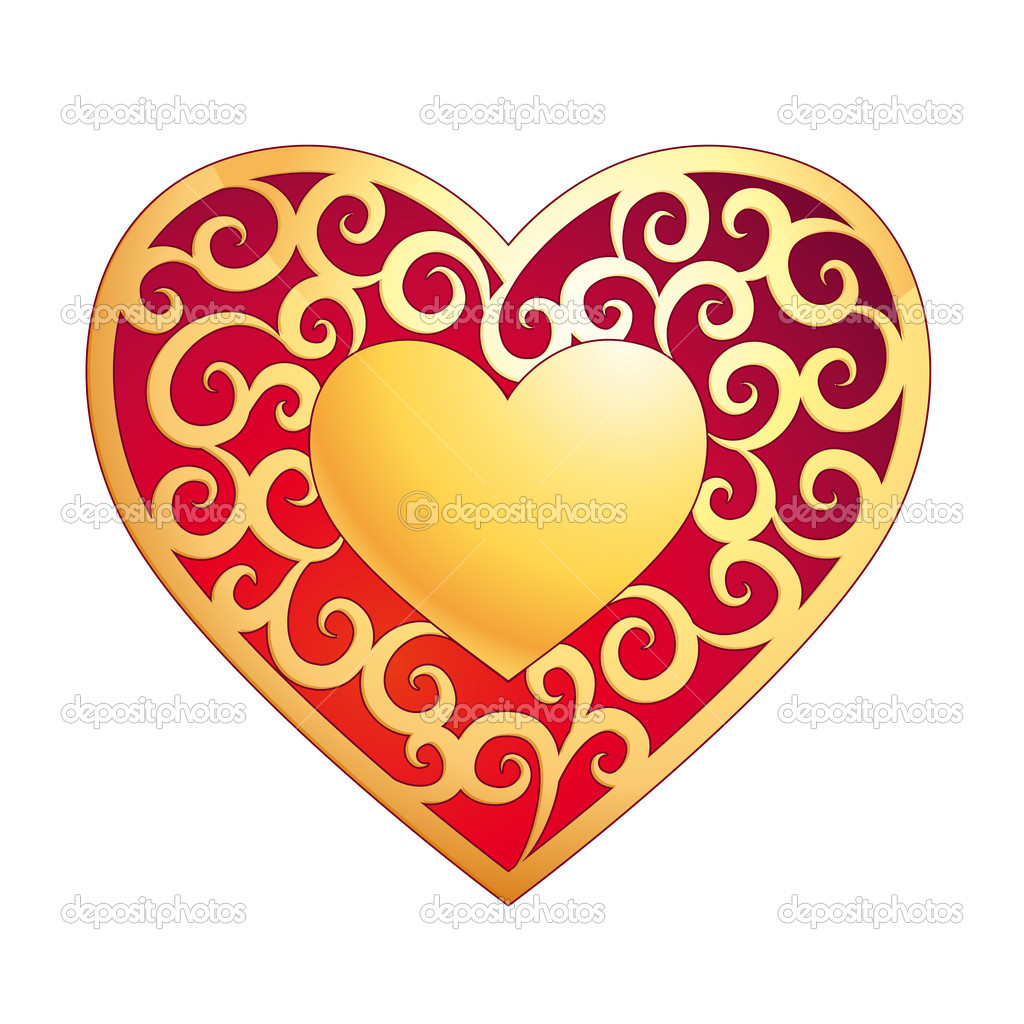 Golden heart - Valentine's Day card — Stock Vector #1613619