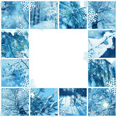 Winter mosaic frame — Stock Photo