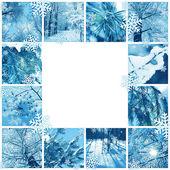 Winter mozaïek frame — Stockfoto