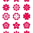 15 Flowers Silhouettes — Stock Vector