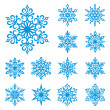 Vector snowflakes set - Stock vektor