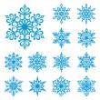 płatki śniegu wektor zestaw — Wektor stockowy