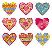 Decorative vector hearts — Stock Vector