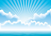 Vector seascape with clouds and sun rays — Stock Vector