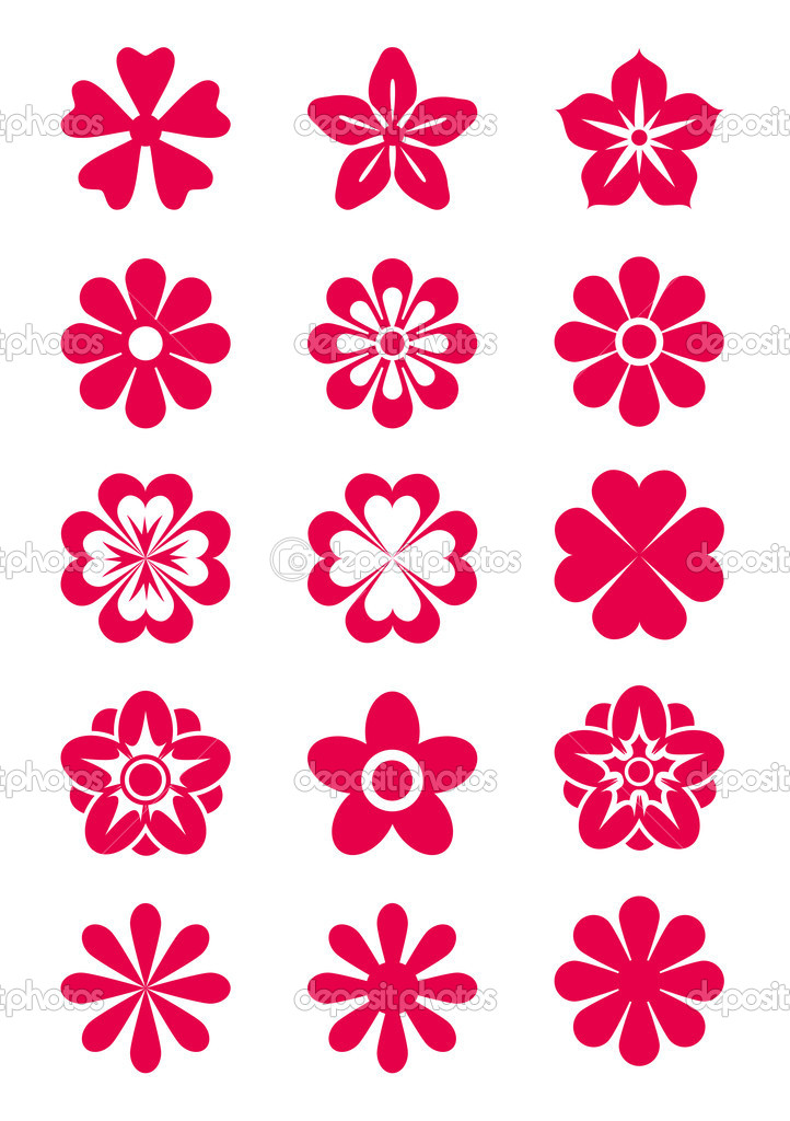Set of 15 vector flowers' silhouettes — Stock Vector #2515583