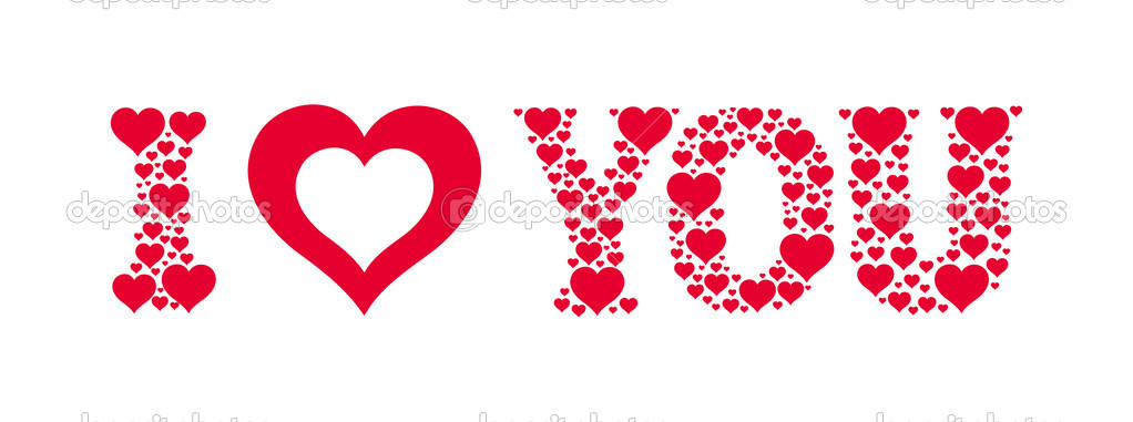 I heart you. Text made of small hearts. Vector valentine card — Stock Vector #2517025