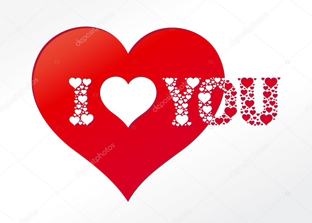Vector Valentine's card I heart you — Imagen vectorial #2517032