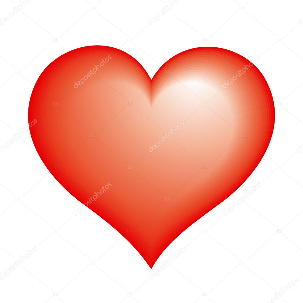 Red glossy heart. Vector icon. — Stock Vector #2517034