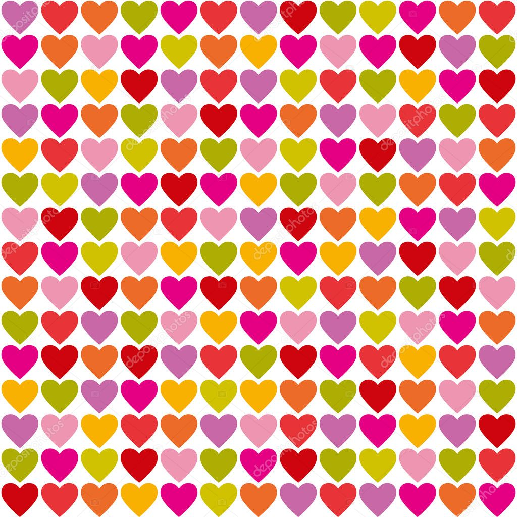 Seamless pattern of bright colorful hearts — Stock Vector #2517052