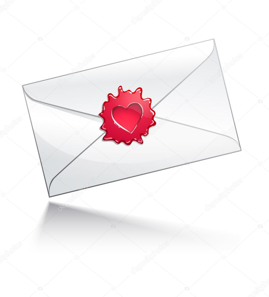 Illustration: Valentine's Day letter with heart-shaped seal  Stock Vector #2517147