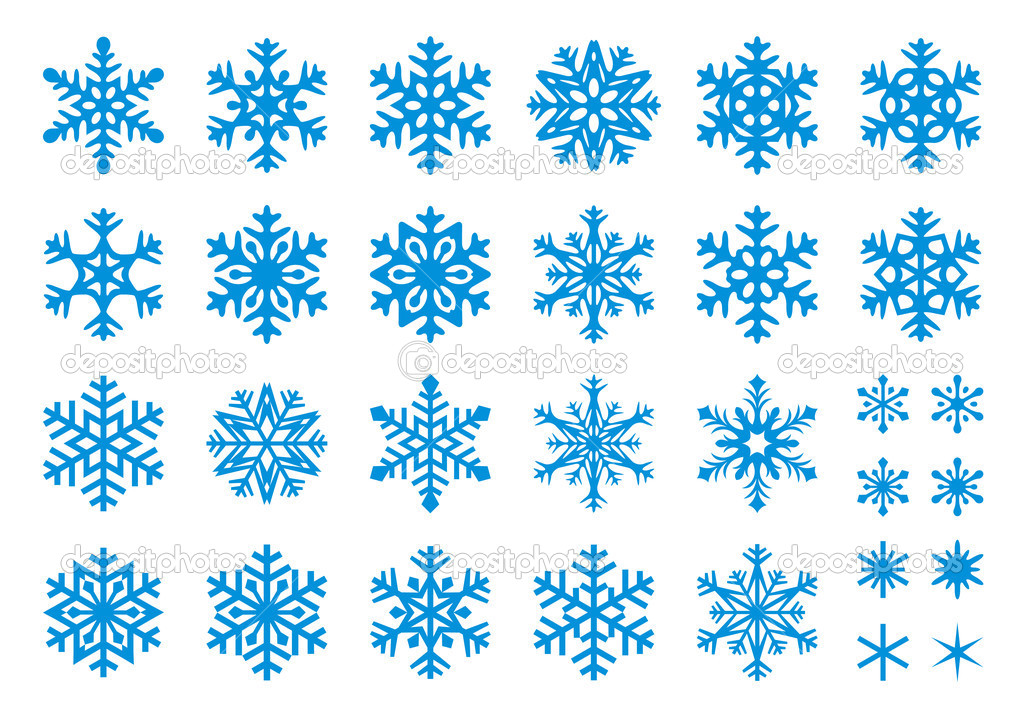 Set of 30 snowflakes, some with crisp edges and some with rounded angles. EPS8 vector. — Stock Vector #2517378