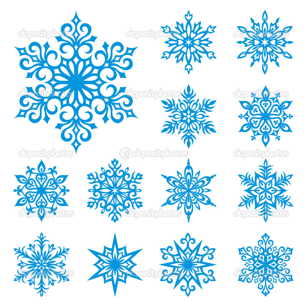 Set of 13 detailed vector snowflakes — 图库矢量图片 #2517387