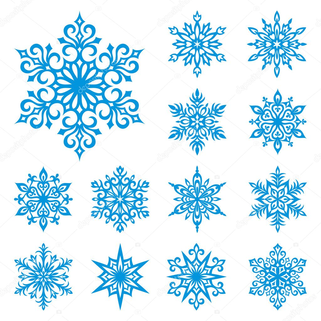 Set of 13 detailed vector snowflakes — Vektorgrafik #2517387
