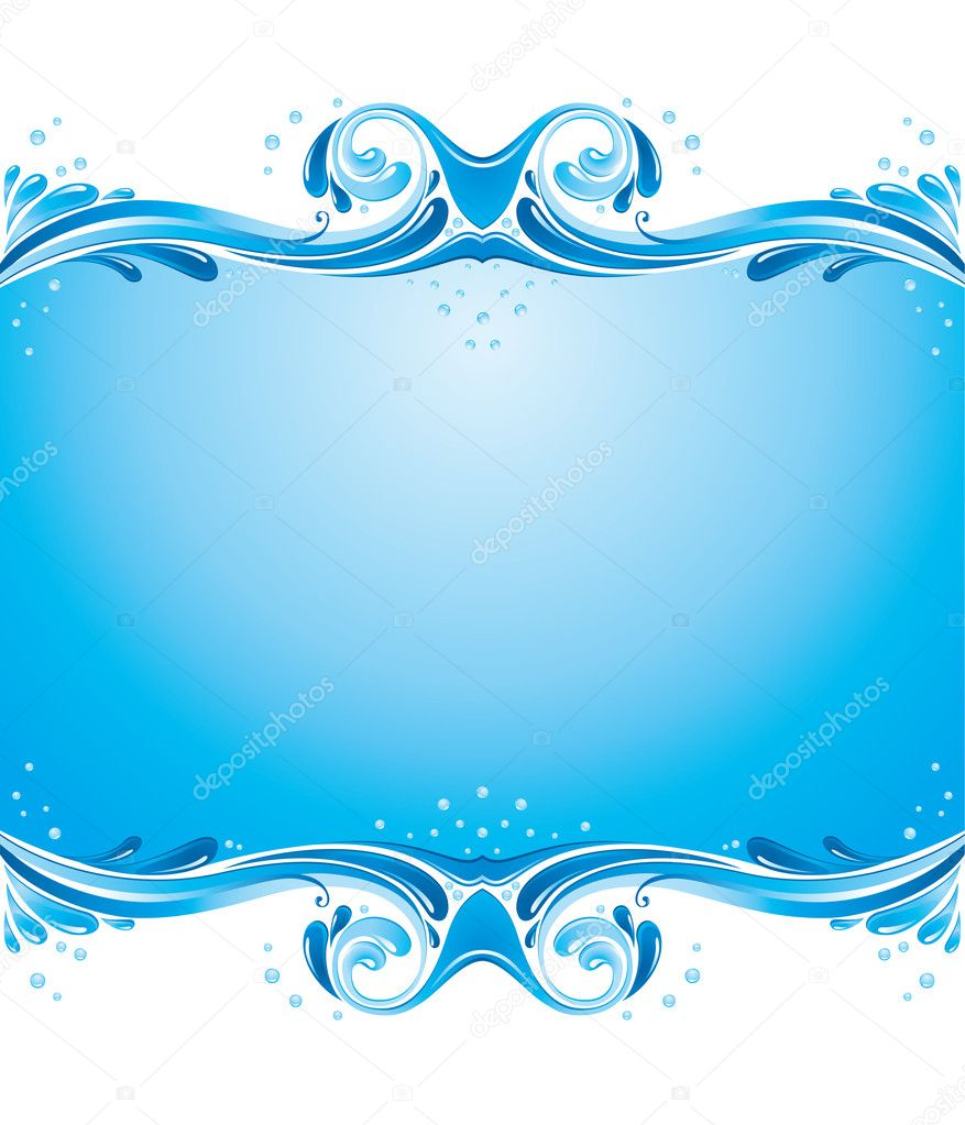 Symmetric background with water splashes and some bubbles  Stock Vector #2517578