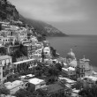 Positano, Italy, black and white — Stock Photo
