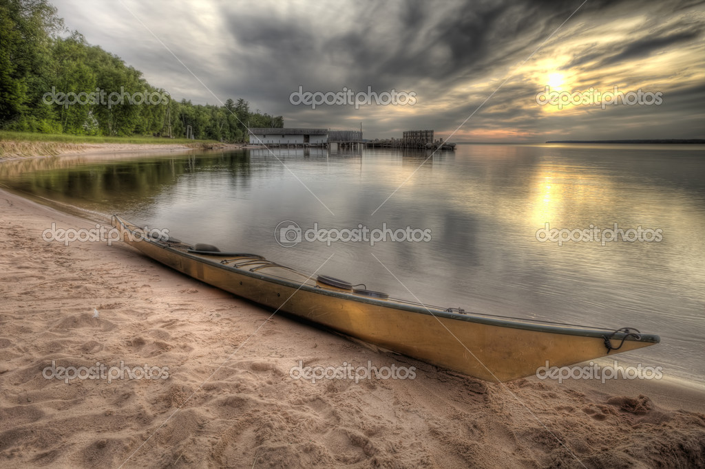 High dynamic range (HDR) image of kayak along Lake Superior  Stock Photo #1644145
