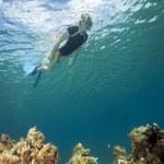 Woman snorkeling, Fiji — Stock Photo