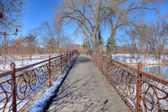 Bridge over winter stream, HDR — Stock Photo
