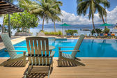 Pool at tropical resort, HDR — Stock Photo