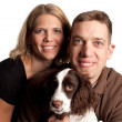Happy couple and their dog — Stock Photo #2570646