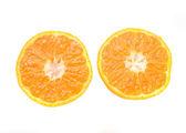 Two half mandarin isolated — Stock Photo