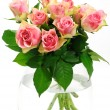 Foto de Stock  : Pink roses bouquet in vase