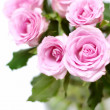 Pink roses bouquet in vase — Stock Photo