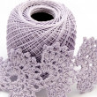 Cotton yarn with crochet work — Stock Photo