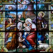 Stock Photo: Stained glass window with Christmas scene