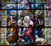 Stained glass window with Christmas scene — Foto de Stock