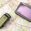GPS and car on map — Stock Photo