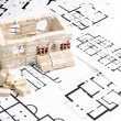 House over blueprint — Stock Photo