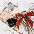 Keys on blueprint — Stockfoto