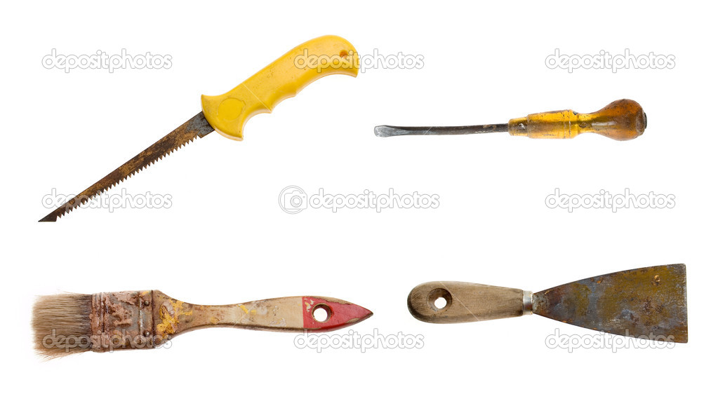Time for new equipment - old rusty tools set. — Stock Photo #1725170