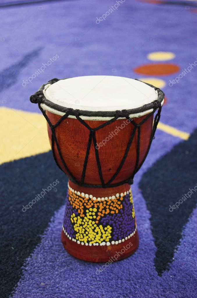 African drum - djembe over blue background  Stock Photo #1759475