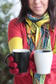 2 杯の熱いコーヒーをください。 — ストック写真