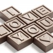 Words I love You made of little chocolat — Stock Photo