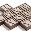 Stock Photo: Word Love made of little chocolates